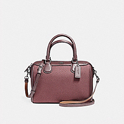 MINI BENNETT SATCHEL IN LEGACY JACQUARD - f57242 - BLACK ANTIQUE NICKEL/OXBLOOD 1