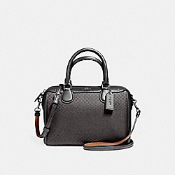MINI BENNETT SATCHEL IN LEGACY JACQUARD - f57242 - SILVER/GREY/BLACK