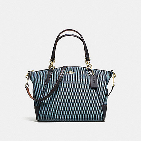COACH f57244 SMALL KELSEY SATCHEL IN LEGACY JACQUARD IMITATION GOLD/MILK MIDNIGHT