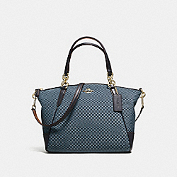 SMALL KELSEY SATCHEL IN LEGACY JACQUARD - f57244 - IMITATION GOLD/MILK MIDNIGHT