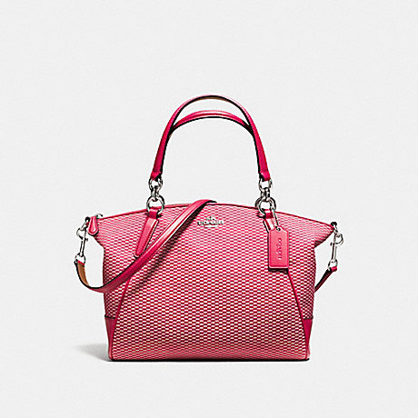 COACH f57244 SMALL KELSEY SATCHEL IN LEGACY JACQUARD SILVER/MILK BRIGHT PINK