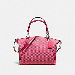 SMALL KELSEY SATCHEL IN LEGACY JACQUARD - f57244 - SILVER/MILK BRIGHT PINK