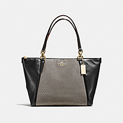 COACH F57246 Ava Tote In Legacy Jacquard LIGHT GOLD/MILK