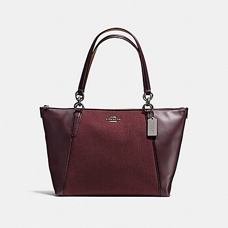 COACH f57246 AVA TOTE IN LEGACY JACQUARD BLACK ANTIQUE NICKEL/OXBLOOD 1