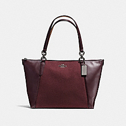 AVA TOTE IN LEGACY JACQUARD - f57246 - BLACK ANTIQUE NICKEL/OXBLOOD 1