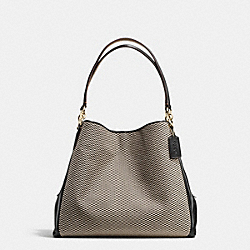 PHOEBE SHOULDER BAG IN EXPLODED REPS PRINT JACQUARD - f57248 - IMITATION GOLD/MILK/BLACK