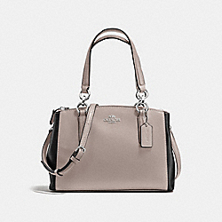 COACH F57266 - MINI CHRISTIE CARRYALL IN COLORBLOCK LEATHER SILVER/GREY BIRCH