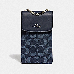COACH F57267 - NORTH/SOUTH CROSSBODY IN SIGNATURE DENIM DENIM/SILVER