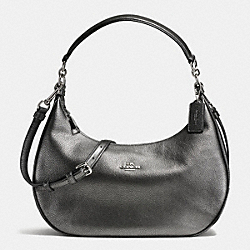 HARLEY EAST/WEST HOBO IN METALLIC PEBBLE LEATHER - f57271 - SILVER/GUNMETAL