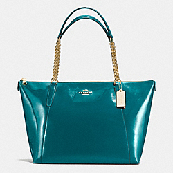 COACH F57308 Ava Chain Tote In Patent Leather IMITATION GOLD/ATLANTIC