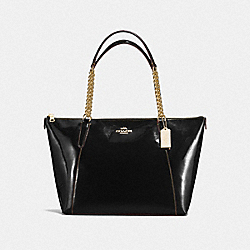COACH F57308 Ava Chain Tote In Patent Leather IMITATION GOLD/BLACK