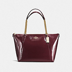 COACH F57308 Ava Chain Tote In Patent Leather IMITATION GOLD/OXBLOOD 1