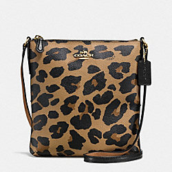 NORTH/SOUTH CROSSBODY IN LEOPARD PRINT COATED CANVAS - f57309 - IMITATION GOLD/NATURAL
