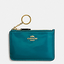 COACH F57310 Key Pouch With Gusset In Patent Leather IMITATION GOLD/ATLANTIC