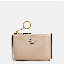 COACH F57310 Key Pouch With Gusset In Patent Leather IMITATION GOLD/PLATINUM