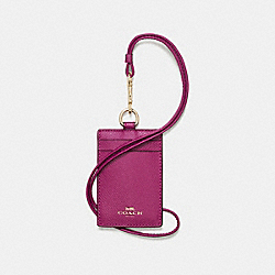 ID LANYARD IN CROSSGRAIN LEATHER - f57311 - IMITATION GOLD/FUCHSIA
