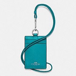 ID LANYARD IN CROSSGRAIN LEATHER - f57311 - SILVER/TURQUOISE