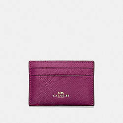 COACH F57312 Flat Card Case In Crossgrain Leather IMITATION GOLD/FUCHSIA