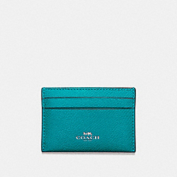 COACH F57312 Flat Card Case In Crossgrain Leather SILVER/TURQUOISE