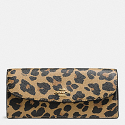 COACH F57313 Soft Wallet In Leopard Print Coated Canvas IMITATION GOLD/NATURAL