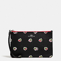 COACH F57317 Small Wristlet In Cherry Print Coated Canvas SILVER/BLACK MULTI