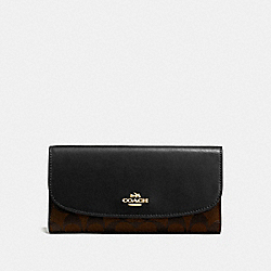 COACH F57319 Checkbook Wallet In Signature IMITATION GOLD/BROWN/BLACK