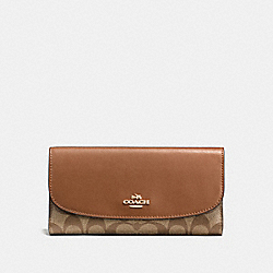 COACH F57319 Checkbook Wallet In Signature IMITATION GOLD/KHAKI/SADDLE