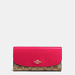 COACH F57319 Checkbook Wallet In Signature IMITATION GOLD/KHAKI BRIGHT PINK