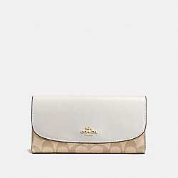 COACH F57319 Checkbook Wallet In Signature IMITATION GOLD/LIGHT KHAKI/CHALK