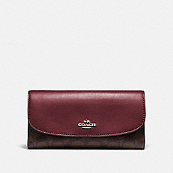 COACH F57319 Checkbook Wallet In Signature Canvas IM/BROWN/WINE
