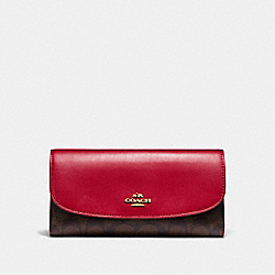 COACH F57319 Checkbook Wallet In Signature Canvas BROWN/TRUE RED/LIGHT GOLD