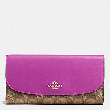 6b9dec605a5e COACH f57319 CHECKBOOK WALLET IN SIGNATURE IMITATION GOLD KHAKI HYACINTH