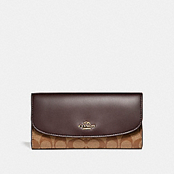 COACH CHECKBOOK WALLET IN SIGNATURE COATED CANVAS - LIGHT GOLD/KHAKI - F57319
