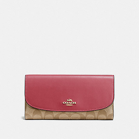 COACH F57319 CHECKBOOK WALLET IN SIGNATURE CANVAS LIGHT KHAKI/ROUGE/GOLD