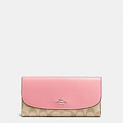 COACH F57319 Checkbook Wallet In Signature Coated Canvas SILVER/LIGHT KHAKI/BLUSH