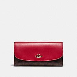 COACH F57319 Checkbook Wallet SILVER/KHAKI/MAGENTA