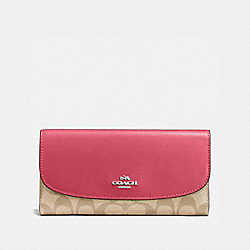 COACH F57319 Checkbook Wallet In Signature SILVER/LIGHT KHAKI/STRAWBERRY