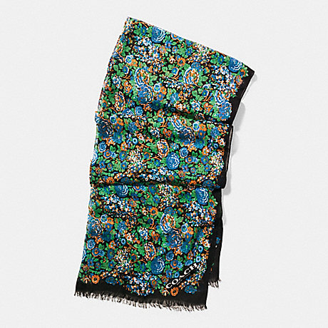 COACH f57402 ROSE MEADOW OBLONG SCARF BLACK MULTICOLOR
