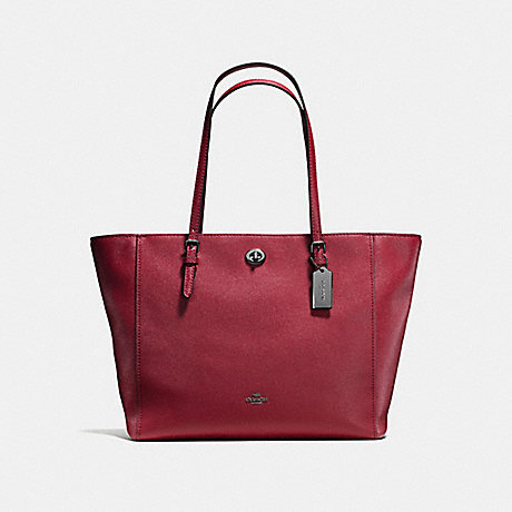 COACH f57443 TURNLOCK TOTE Cherry/Dark Gunmetal