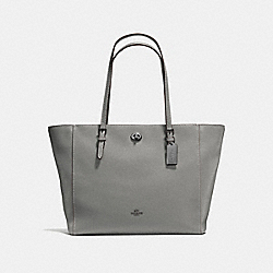 COACH F57443 - TURNLOCK TOTE HEATHER GREY/DARK GUNMETAL