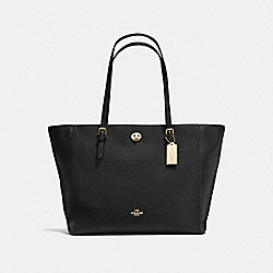 COACH F57450 - TURNLOCK TOTE BLACK/LIGHT GOLD