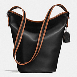 75TH ANNIVERSARY DUFFLE SHOULDER BAG IN GLOVETANNED CALF LEATHER - f57458 - BLACK ANTIQUE NICKEL/BLACK/SADDLE