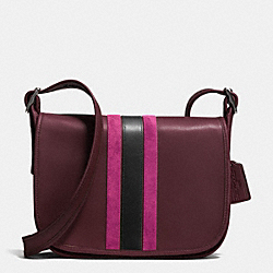 75TH ANNIVERSARY STRIPE PATRICIA SADDLE BAG IN GLOVETANNED CALF LEATHER - f57459 - BLACK ANTIQUE NICKEL/OXBLOOD 1/FUSCHIA