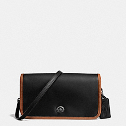 COACH F57460 75th Anniversary Penny Crossbody In Glovetanned Calf Leather BLACK ANTIQUE NICKEL/BLACK/SADDLE