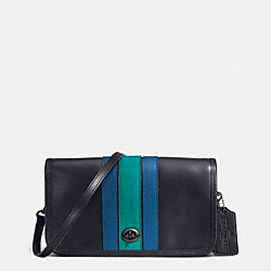 COACH F57461 75th Anniversary Stripe Penny Crossbody In Glovetanned Calf Leather BLACK ANTIQUE NICKEL/MIDNIGHT DENIM MULTI
