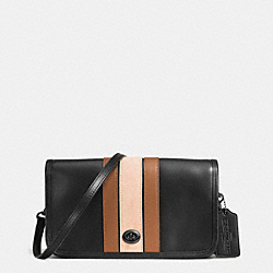 COACH F57461 75th Anniversary Stripe Penny Crossbody In Glovetanned Calf Leather BLACK ANTIQUE NICKEL/BLACK SADDLE MULTI
