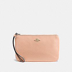 COACH F57465 Large Wristlet In Crossgrain Leather IMITATION GOLD/NUDE PINK