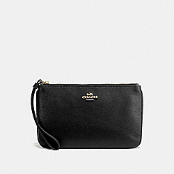 COACH F57465 Large Wristlet In Crossgrain Leather IMITATION GOLD/BLACK