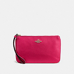 COACH F57465 Large Wristlet In Crossgrain Leather IMITATION GOLD/BRIGHT PINK