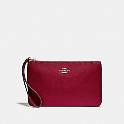 COACH F57465 Large Wristlet CHERRY /LIGHT GOLD